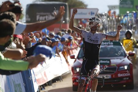 Luxembourg Cyclist of Trek Team Frank Schleck Celebrates His Victory in the Sixteenth Stage of La Vuelta Espana Cycling Race 185 Km Between Luarca and Ermita Del Alba Asturias Northern Spain 07 September 2015 Spain Ermita Del Alba