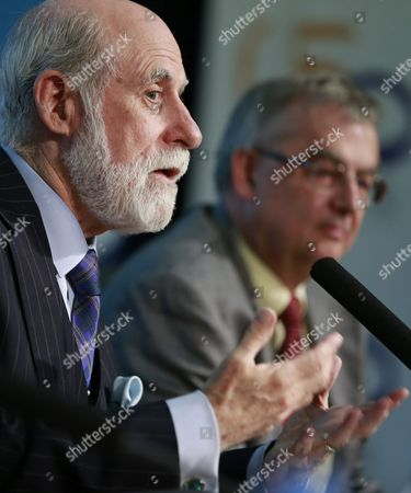 Us Internet Pioneer and Vice President of Google Vinton Cerf Speaks During a Conference on the Evolution of Internet Since the Mobile Devices Growth Organized by the Politechnic University of Madrid (upm) on the Occassion of the 50th Anniversary of the European Telecommunications Standards Institute (etsi) in Madrid Spain 08 July 2015 Spain Madrid