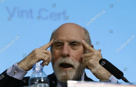 Stock Photo of Us Internet Pioneer and Vice President of Google Vinton Cerf Speaks During a Conference on the Evolution of Internet Since the Mobile Devices Growth Organized by the Politechnic University of Madrid (upm) on the Occassion of the 50th Anniversary of the European Telecommunications Standards Institute (etsi) in Madrid Spain 08 July 2015 Spain Madrid