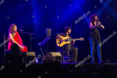 Spanish Flamenco Singer Estrella Morente (l) Flamenco Guitarist El Ni±o Josele (c) and Israeli Jazz Clarinettist Anat Cohen (r) Perform on Stage at 39th Vitoria Jazz Festival in Vitoria Northern Spain 17 July 2015 the Festival Runs From 14 to 18 July Spain Vitoria