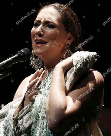 Spanish Flamenco Singer Marina Heredia Performs on Stage During the on Fire Flamenco Festival at Baluarte Theatre in Pamplona Northern Spain 26 August 2015 Spain Pamplona