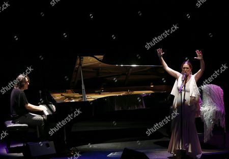 Spanish Flamenco Singer Marina Heredia (r) and Pianist David Morantes Perform on Stage During the on Fire Flamenco Festival at Baluarte Theatre in Pamplona Northern Spain 26 August 2015 Spain Pamplona