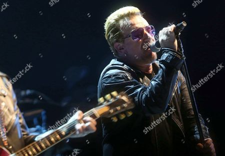Irish Singer-songwriter Paul David Hewson 'Bono' of the Band U2 Performs on Stage During the 'Innoncence + Experience' Tour at Sant Jordi Sports Palace in Barcelona Spain 05 October 2015 Spain Barcelona