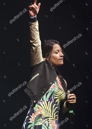 French Born Chilean Rap Singer Ana Tijoux Performs on Stage at the Pirineos Sur Festival in Lanuza Northern Spain 18 July 2015 Spain Lanuza