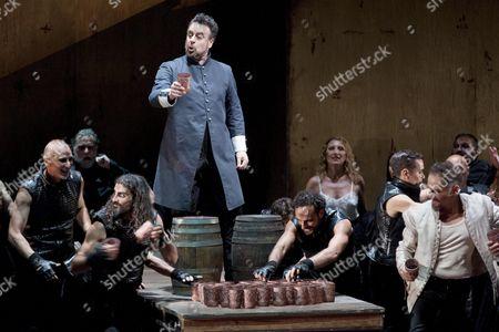 Rehearsal of Verdi's 'Othello' Directed by Paco Azorin with Northamerican Tenor Gregory Kunde Spanish Baritone Carlos Alvarez (c) and Dutch Soprano Eva-maria Westbroek at the Peralada Festival in Girona Spain on 01 August 2015 Spain Peralada (girona)