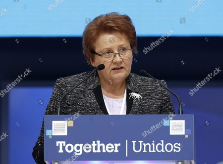 Latvian Prime Minister Laimdota Straujuma Delivers Her Speech During the Second Day of the European People's Party (epp) Congress in Madrid Spain 22 October 2015 Spain Madrid