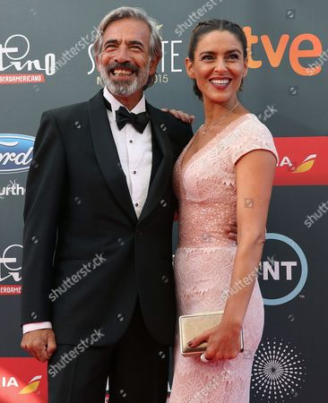 Spanish Actor Imanol Arias and His Fiancee Irene Meritxell Pose As They Arrive at the Ceremony of Platino Iberoamerican Film Awards in Marbella Malaga Southern Spain 18 July 2015 Banderas Will Receive the Platino Lifetime Aíchievement Award Spain Marbella(m?laga)