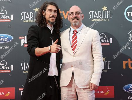Spanish Actor Oscar Jaenada (l) Nominee As Best Actor For the Film 'Cantinflas' and Film?s Director Mexican by Birth But Born in France Sebastian Del Amo As They Arrives the Second Platino Iberoamerican Film Awards in Marbella Malaga Southern Spain 18 July 2015 Spain Marbella(m?laga)