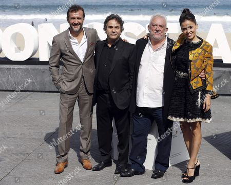 (l-r) Spanish Actor Jose Luis Garcia Perez Spanish Actor Eduard Fernandez Spanish Director Imanol Uribe and Spanish Actress Elena Anaya Pose During the Presentation of the Movie 'Lejos Del Mar' (far From the Sea) at the 63rd Edition of the San Sebastian International Film Festival in San Sebastian Spain 24 September 2015 the Festival Runs From 18 to 26 September Spain San Sebastian