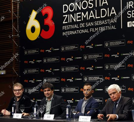 Stock Image of Spanish Director Alejandro Amenabar (2-r) and Executive Producers Paolo Vasile (r) Fernando Bovaira (2-l) and Axel Kuschevatzky (l) Attend the Press Conference For 'Regression' at the 63rd Annual San Sebastian International Film Festival in San Sebastian Spain 18 September 2015 the Movie Presented in the Official Selection Opens the Festival Running From 18 to 26 September Spain San Sebastian