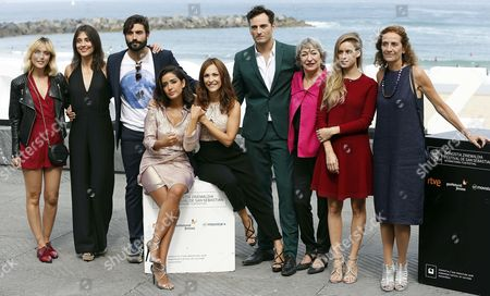 Spanish Director Paula Ortiz (c) and Actors Inma Cuesta (4-l) Asier Etxeandia (4-r) Alex Garcia (3-l) Leticia Dolera (l) Luisa Gavasa (3-r) Manuela Valles (2-r) and Consuelo Trujillo (r) Pose During the Photocall of Their Film 'La Novia' (the Bride) at the 63rd Edition of the San Sebastian International Film Festival in San Sebastian Spain 26 September 2015 the Festival Runs From 18 to 26 September Spain San Sebastian