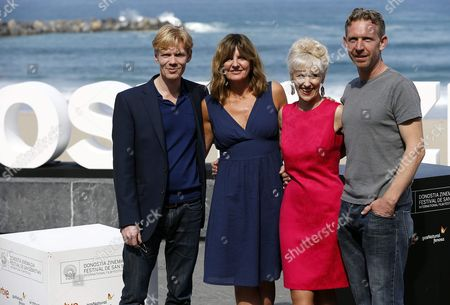 British Actors/cast Members Anita Dobson (2-r) Clare Burt (2-l) Michael Schaeffer (l) and Paul Thornley (r) Pose During the Presentation of the Film 'London Road' at the Official Section of the 63rd Annual San Sebastian International Film Festival in San Sebastian Spain 26 September 2015 the Festival Runs From 18 to 26 September Spain San Sebastian