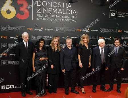 Stock Picture of Members of the Official Section Jury (l-r) Italian Film Maker Uberto Pasolini Indian Actress and Film Maker Nandita Das Producer Julie Salvador Spanish Film Maker Daniel Monzon Danish Actress Paprika Steen Italian Photographer Director Luciano Tovoli and Argentinian Film Maker Hernan Musaluppi Arrive For the Closing Ceremony of the 63rd Annual San Sebastian International Film Festival in San Sebastian Spain 26 September 2015 the Festival Runs From 18 to 26 September Spain San Sebastian