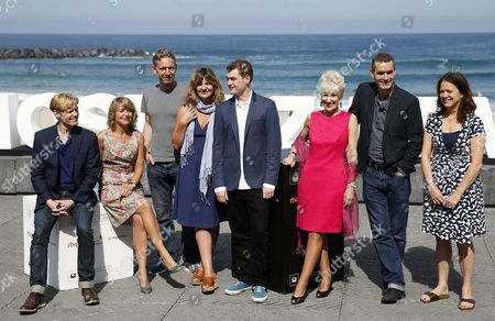 British Film Maker Rufus Norris (2-r) Pose with Screenwriter Alecky Blyth (2-l) Executive Producer Dixie Linder (r) Composer Adam Cork (4-r) and Actors Anita Dobson (3-r) Clare Burt (4-l) Michael Schaeffer (l) and Paul Thornley (3-l) During the Presentation of the Film 'London Road' at the Official Section of the 63rd Annual San Sebastian International Film Festival in San Sebastian Spain 26 September 2015 the Festival Runs From 18 to 26 September Spain San Sebastian