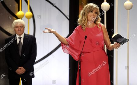 Danish Actress and President of the Official Jury Paprika Steen (r) Talks to the Audience During the 63th San Sebastian International Film Festival Opening Ceremony in San Sebastian Basque Country Spain 18 September 2015 the San Sebastian International Film Festival Will Run From 18 to 26 September 2016 Spain San Sebastian