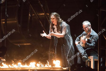 A Photograph Made Avaiable on 11 July 2015 Showing Flamenco Singer Marina Heredia (c) Performs the Manuel De Falla's Play 'El Amor Brujo' (love the Sorcerer) Directed by La Fura Dels Baus Theatre Company at Granada's Bullring As Part of 64th International Music and Dance Festival in Granada Southern Spain 10 July 2015 Spain Granada