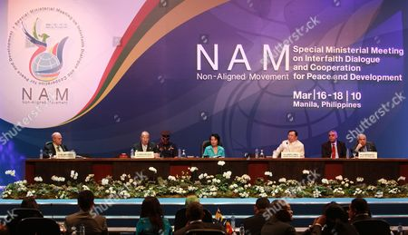 (front Row L-r) William Vendley (secretary General World Conference of Religions For Peace) Dr Mahmoud Hamdy Zakzouk of Egypt Philippine President Gloria Macapagal-arroyo Philippine Foreign Affairs Secretary Alberto Romulo and United Nations General Assembly President Dr Ali Abdussalam Treki Lead a Session For the Special Non-aligned Movement Ministerial Meeting (snamm) on Interfaith Dialogue and Cooperation For Peace and Development in Pasay City Suburban Manila Philippines 17 March 2010 Senior Foreign Officials From More Than 100 Member Countries of the Non-aligned Movement (nam) Gathered to Promote Interfaith Dialogue to Help Resolve Conflicts Tensions and Other Social Maladies a Manila Declaration is Expected to Be Forged As a Plan of Action For Cooperation Among Participating Countries Philippines Pasay