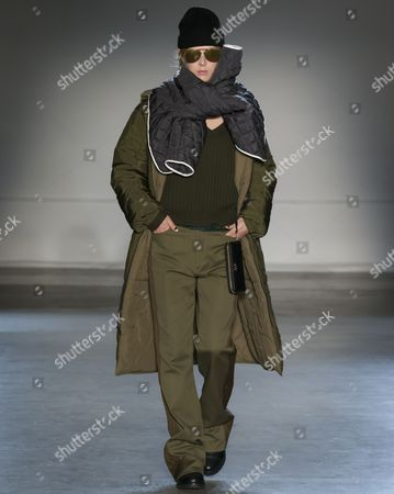 Stock Image of Ulrikke Hoeyer on the catwalk