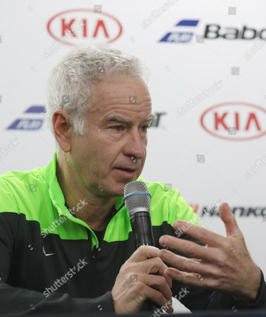 Stock Image of John Mcenroe 57 a Seven-time Grand Slam Singles Champion Speaks During a Press Day For the Atp Champions Tour Korea 2016 at Olympic Park Sk Stadium in Southeastern Seoul South Korea 11 November 2016 the Eve of the Two-day Senior Tour Event Featuring 4 Retired Tennis Legends Korea, Republic of Seoul