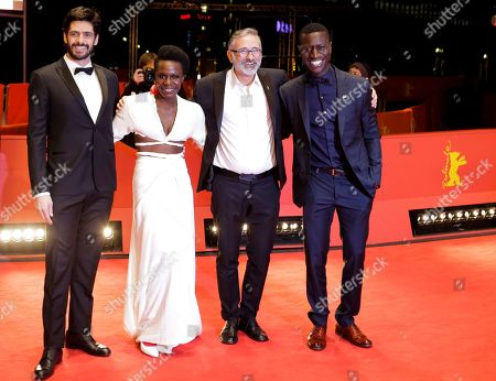 From left, actors Julio Machado, Isabel Zuaa, director Marcelo Gomes and actor Welket Bungue pose for the media on the red carpet for the film 'Joaquim' at the 2017 Berlinale Film Festival in Berlin, Germany