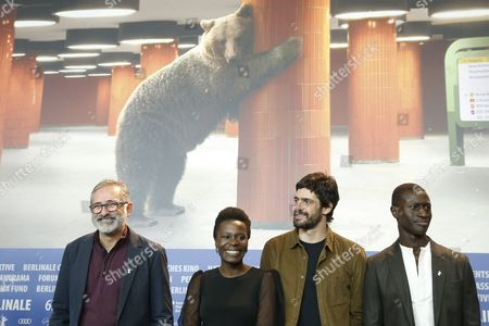 (L-R) Brazilian director Marcelo Gomes, Portuguese actress Isabel Zuaa, Brazilian actor Julio Machado and Guinean actor Welket Bungue attend the press conference for 'Joaquim' during the 67th annual Berlin Film Festival, in Berlin, Germany, 16 February 2017. The movie is presented in the Official Competition at the Berlinale that runs from 09 to 19 February.