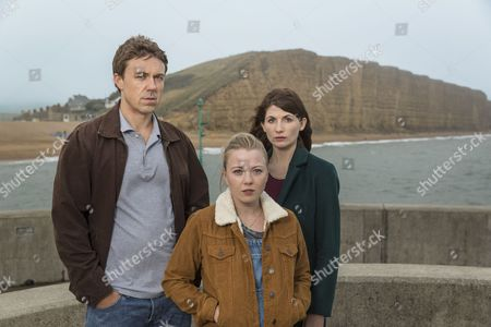 'Broadchurch - Series 3': Andrew Buchan as Mark, Charlotte Beaumont as Chloe and Jodie Whittaker as Beth.