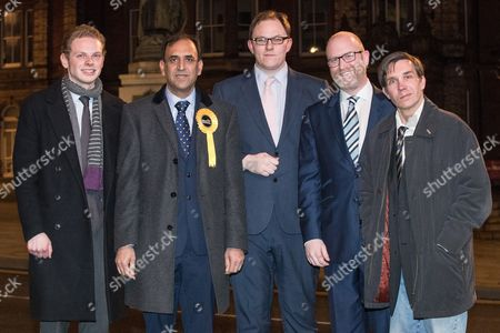 Stock Image of Jack Brereton (Conservatives), Dr Zulfiqar Ali (Liberal Democrats), Gareth Snell (Labour), Paul Nuttall (UKIP) and Adam Colclough (Green Party) pose outside Hanley Town Hall after giving a five-way radio hustings at BBC Radio Stoke The five candidates are competing for the vacant seat of Stoke-on-Trent Central