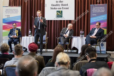 Stock Image of Jack Brereton speaks. Hustings in Stoke-on-Trent Central by-election at the Quality Hotel in Stoke