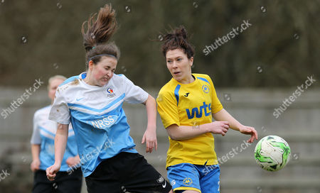 Eden May of Marine Academy Ladies challenges for the ariel ball with Sian Chapman of Torquay Ladies during the Pat Sowden Trophy Semi Final match between Torquay United Ladies and Marine Academy Ladies, St Johns Lane, Bovey Tracey, Devon, England on Sunday 19th February, 2017 - Photo: Phil Mingo
