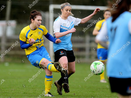 Stock Picture of Sian Chapman of Torquay Ladies has a shot at goal during the Pat Sowden Trophy Semi Final match between Torquay United Ladies and Marine Academy Ladies, St Johns Lane, Bovey Tracey, Devon, England on Sunday 19th February, 2017 - Photo: Phil Mingo
