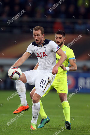 Samuel Gigot of KAA Gent and Harry Kane of Tottenham Hotspur during KAA Gent vs Tottenham Hotspur, UEFA Europa League Football at the Ghelamco Arena on 16th February 2017