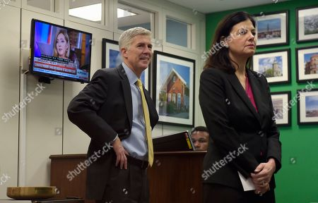 Kelly Ayotte, Neil Gorsuch Supreme Court Justice nominee Neil Gorsuch and former New Hampshire Senator Kelly Ayotte wait for a meeting with Senator Chris Murphy, D-Conn., on Capitol Hill in Washington
