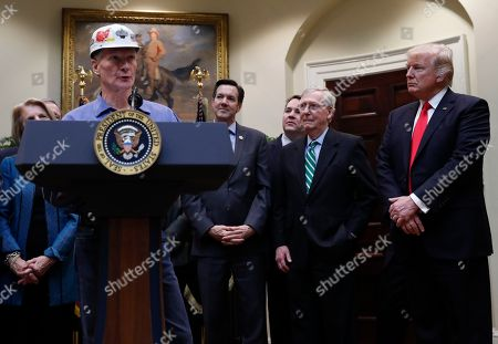 Donald Trump, Alex Mooney, Kevin Hughes, Mitch McConnell, Evan Jenkins Kevin Hughes, General Manager, Murray Energy Corporation, joined by from left Rep. Evan Jenkins, R-W.Va., Rep. Alex Mooney, R-W.Va., Senate Majority Leader Mitch McConnell of Ky., and President Donald Trump, speaks during a ceremony where the president will sign H.J. Res. 38 in the Roosevelt Room of the White House in Washington