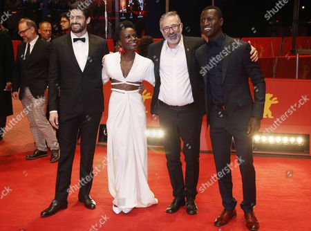 (L-R) Brazilian actor Julio Machado, Portuguese actress Isabel Zuaa, Brazilian director Marcelo Gomes and Guinean actor Welket Bungue arrive for the premiere of 'Joaquim' during the 67th annual Berlin Film Festival, in Berlin, Germany, 16 February 2017. The movie is presented in the Official Competition at the Berlinale that runs from 09 to 19 February.