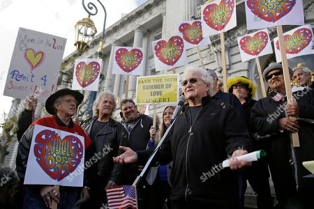Stock Photo of David Freiberg, David Smith David Freiberg, right, who played with the Quicksilver Messenger Service and Jefferson Airplane bands, speaks in support of a Summer of Love anniversary concert during a rally outside City Hall, in San Francisco. The show might still go on but a concert planned to mark the 50th anniversary of the Summer of Love has hit another major bureaucratic hurdle. San Francisco's Recreation and Park Commission on Thursday upheld its decision earlier this month to deny a permit for the concert. Listening at left is Dr. David Smith, founder of the Haight Ashbury Free Clinic