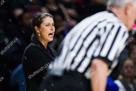 Blue Devils head coach Joanne McCallie calls out to her defense in the NCAA Womens Basketball matchup at LJVM Coliseum in Winston-Salem, NC