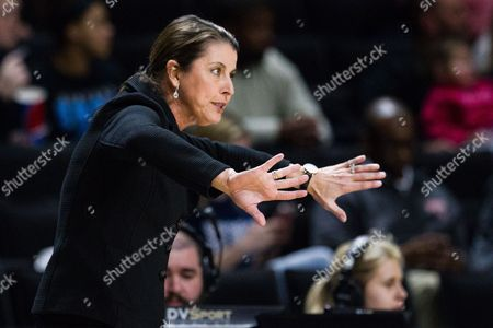 Stock Image of Blue Devils head coach Joanne McCallie directs her team from in the NCAA Womens Basketball matchup at LJVM Coliseum in Winston-Salem, NC