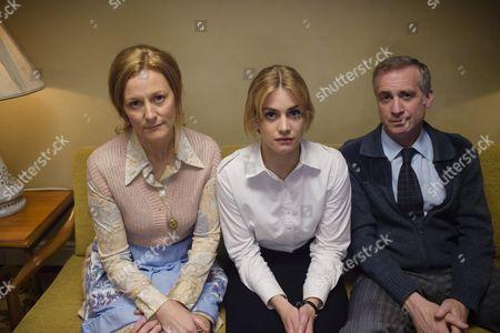 'Prime Suspect 1973' - Geraldine Somerville as Joyce Tennison, Stefanie Martini as Jane Tennison and Nick Sidi as Andrew Tennison.