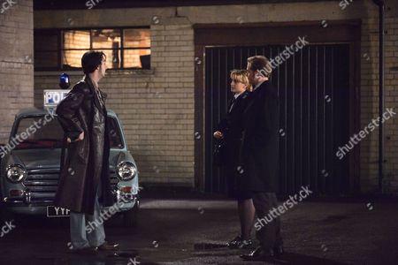 'Prime Suspect 1973' - Stefanie Martini as Jane Tennison, Blake Harrison as DS Spencer Gibbs and Sam Reid as DS Spencer Gibbs.