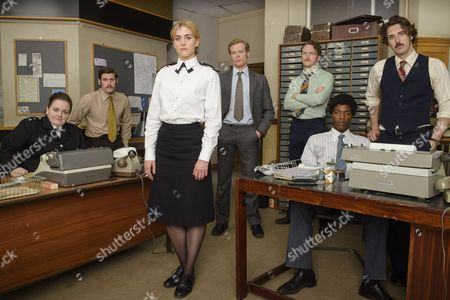 'Prime Suspect 1973' - Jessica Gunning as Kath Morgan, Tommy McDonnell as DC Hudson, Stefanie Martini as Jane Tennison, Sam Reid as DCI Len Bradfield, Joshua Hill as DC Edwards, Daniel Ezra as DC Ashton and Blake Harrison as DS Spencer Gibbs.