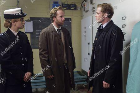 'Prime Suspect 1973' - Stefanie Martini as Jane Tennison, Geoffrey Streatfield as George Collins and Sam Reid as DCI LEN BRADFIELD.