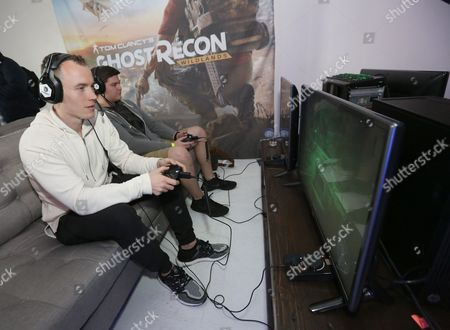 DJ Skee enjoys some hands on gameplay at Ubisoft's Tom Clancy's Ghost Recon Wildlands: War Within the Cartel livestream event, in Los Angeles