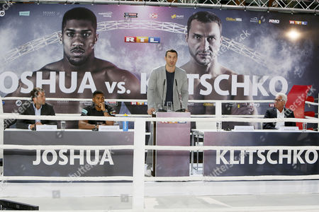 Stock Picture of Anthony Joshua and Manager Eddie Hearn and Wladimir Klitschko and Manager Bernd Boente