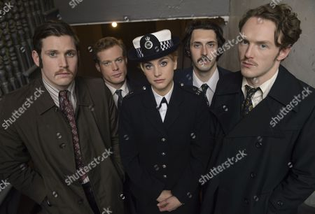 'Prime Suspect 1973' (Episode 2) - Tommy McDonnell as DC Hudson, Stefanie Martini as Jane Tennison, Sam Reid as DCI Len Bradfield, Joshua Hill as DC Edwards and Blake Harrison as DS Spencer Gibbs.