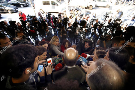 The lawyer for Spain's Princess Cristina de Borbon, Miquel Roca (C), addresses the media in Barcelona, Spain, 17 February 2017, shortly after a court announced that Cristina de Borbon was acquitted of having collaborated with her husband, Inaki Urdangarin, in committing two tax offenses, as part of the trial in the so-called Noos corruption case. The court in Palma de Mallorca, Majorca Island, sentenced Princess Cristina's husband Inaki Urdangarin to six years and three months in jail for irregularities in the management of the public funds at the Noos Institute.