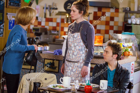 In the café, Gail Rodwell, as played by Helen Worth, discovers her purse missing from her handbag. She immediately accuses Shona, as played by Julie Goulding, of stealing it and David Platt, as played by Jack P Shepherd, backs her up. (Ep 9110 - Mon 27 Feb 2017)
