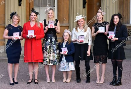 Stock Photo of Penny Briscoe OBE, Stephanie Millward MBE, Hannah Russell MBE, Eleanor Robinson MBE, Susannah Rodgers MBE, Claire Cashmore MBE, Alice Tai MBE