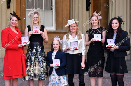 Stock Photo of Stephanie Millward MBE, Hannah Russell MBE, Eleanor Robinson MBE, Susannah Rodgers MBE, Claire Cashmore MBE, Alice Tai MBE