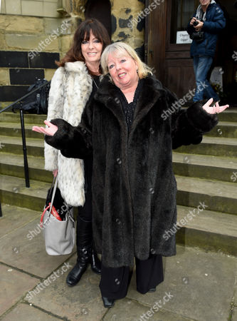 Vicki Michelle and Sue Hodge attend the funeral of Gordon Kaye