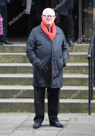 Ken Morley attends the funeral of Gordon Kaye
